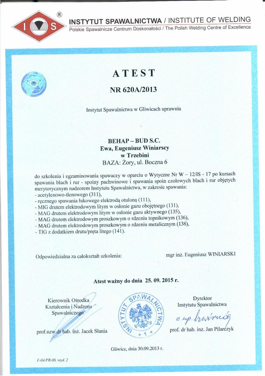 atest_instytut_spawalnictwa_zory